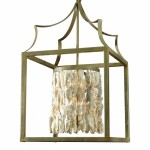 Box Lantern with Shell & Crystal Nugget Cylinder Chandelier
