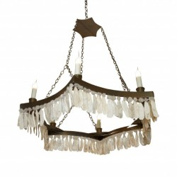6 Point Chandelier W/crystal& Shell